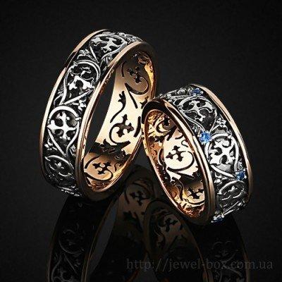 Комбинированные обручальные кольца с сапфирами