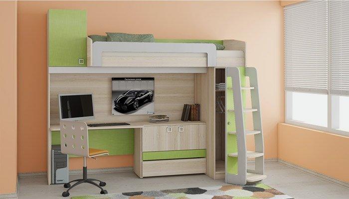 Кровать-чердак с рабочей зоной для подростка - очень удобное и функциональное место.