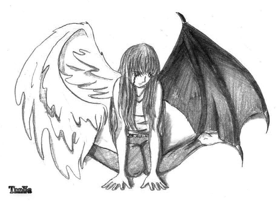 Картинки карандашом ангел и демон в одном обличии