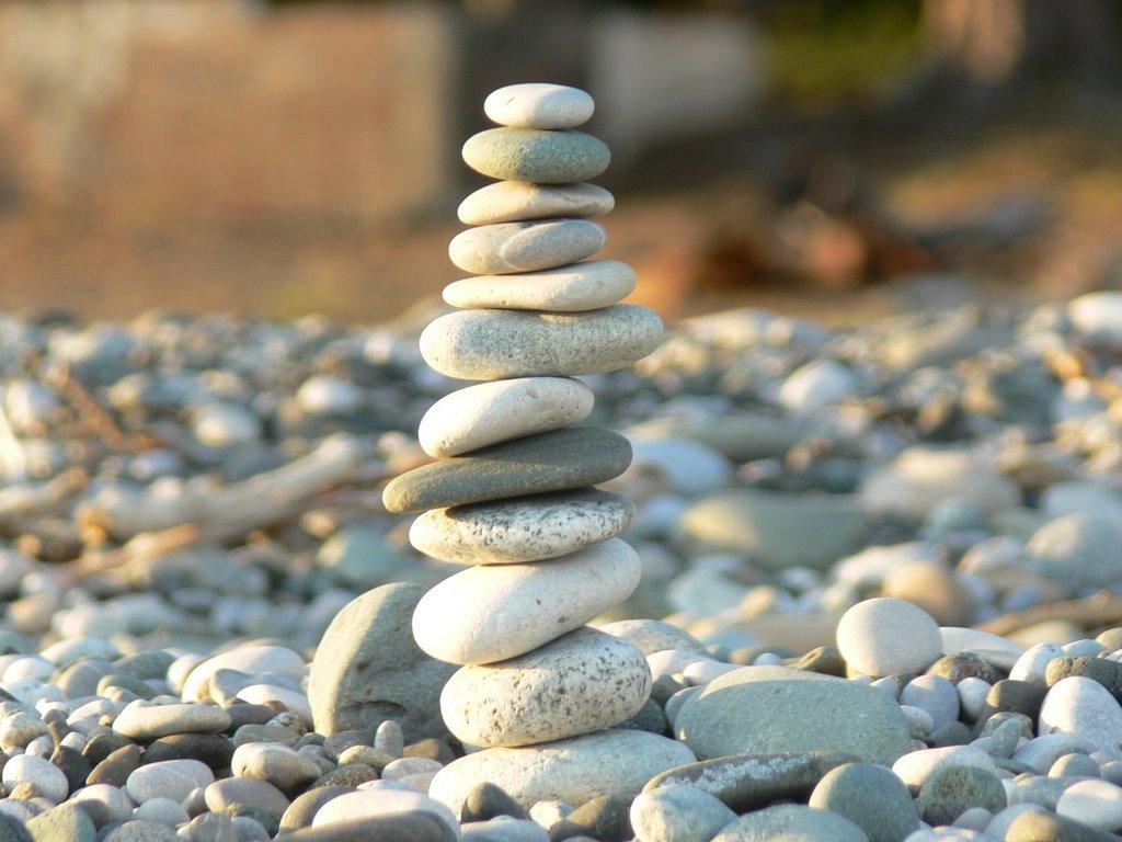 картинка с камнями в равновесии хризантемы цветут даже
