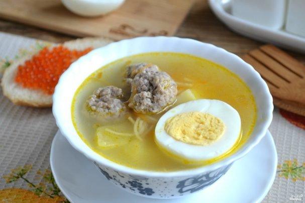 Суп с фрикадельками и яйцом - простой и быстрый рецепт