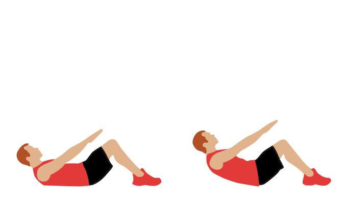 """""""Скручивания"""":  Для выполнения скручиваний необходимо лечь на спину на пол немного согнув ноги в коленях, завести руки за спину или сложить на груди. Далее необходимо выполнять движения корпусом по направлению к коленям. При этом постарайтесь добиться, чтобы в движениях участвовали только мышцы пресса, а не, например, спины.  Какие мышцы задействуются при выполнении упранения:  При выполнении скручиваний работают мышцы пресса.  Какие ошибки допускают, при выполнении данного упражнения:  Обратите внимание, что подключать другие мышцы корпуса при выполнении данного упражнения неправильно - это и является основной ошибкой при выполнении данного упражнения.  Как можно усложнить упражнение:  Усложнить упражнение скручивания можно выполняя его на наклонной скамье, или прижав к грудь небольшой вес (например, блин от штанги)."""