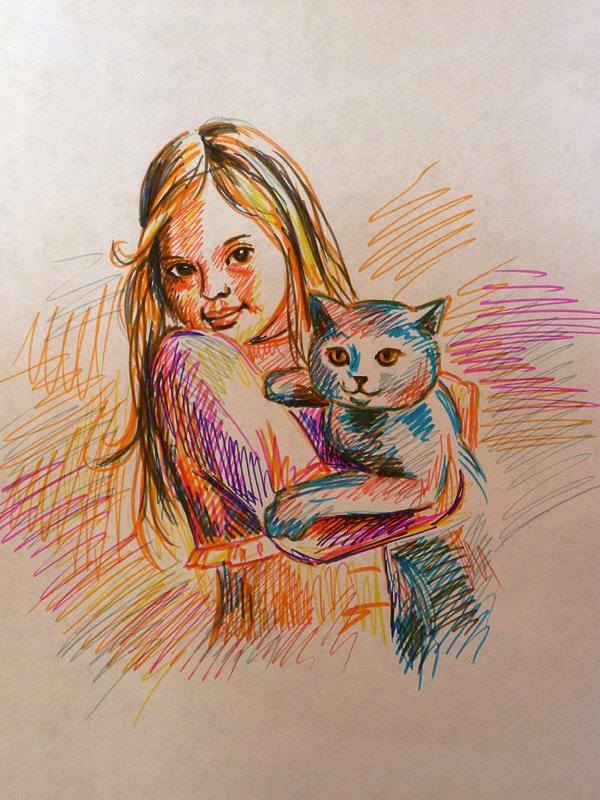 Рисунки девочка с котом простые