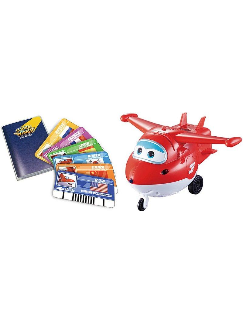 Самолеты и вертолеты Super Wings Джетт с пластиковыми карточками разных стран, свет, звук