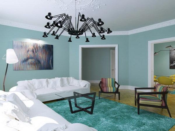 Мятный цвет в интерьере будет гармонично смотреться в интерьере комнаты любого назначения. Спальня, ванная, детская, кухня, гостиная, прихожая – все эти комнаты можно оформить с использованием  мятного колера.