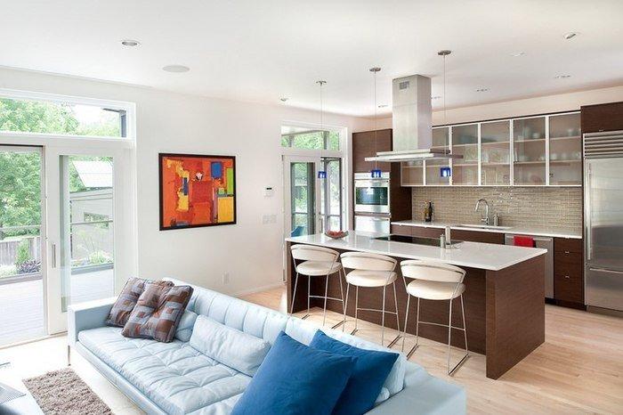 Совмещение комнаты и кухни - довольно популярное решение