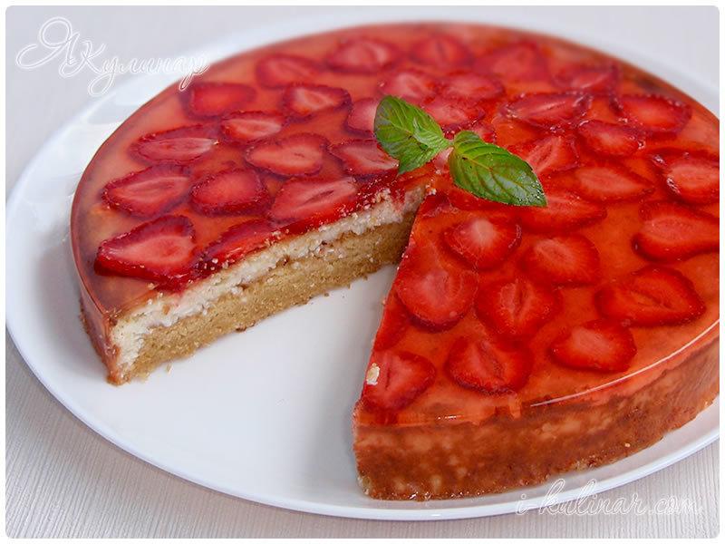 пирог со свежей клубникой в желе рецепт
