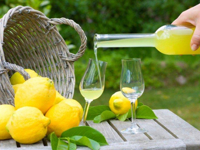 Налейте лимончелло в бокалы и подайте на стол