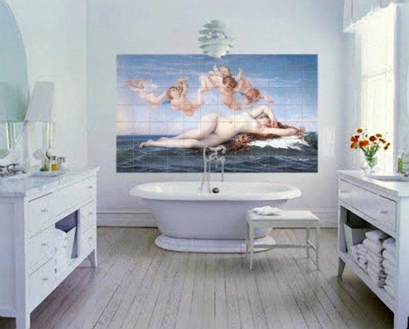 ванная с принтом картины