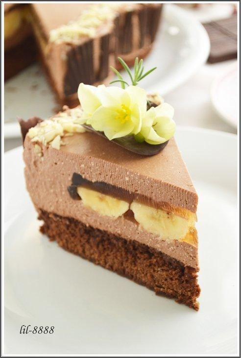 Торт Шоколадно-творожный мусс с бананами в карамельном желе. Рецепт с фотографиями