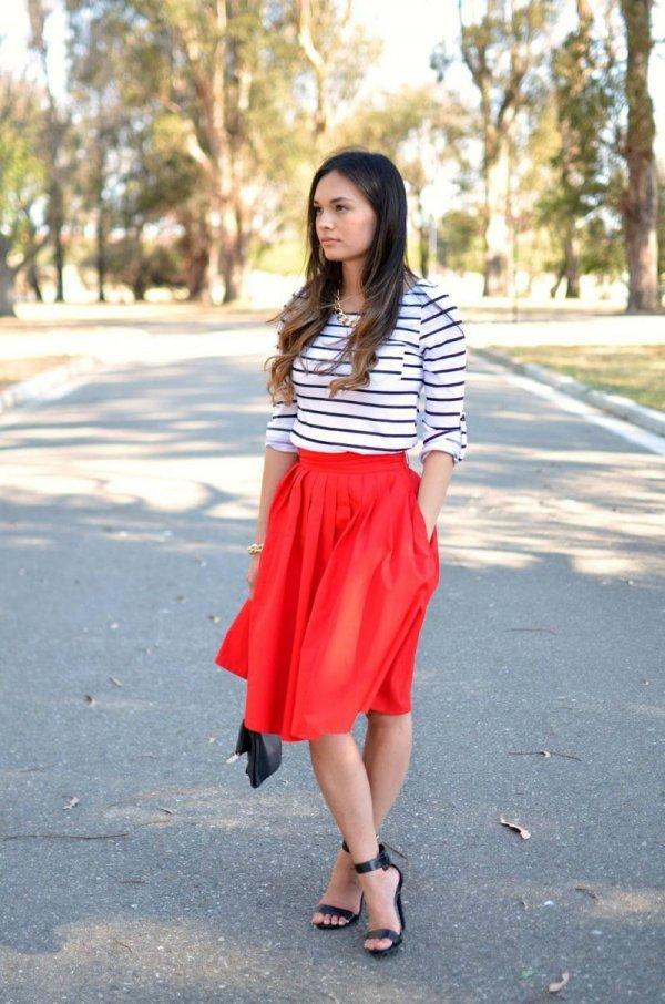 Футболка юбка и босоножки