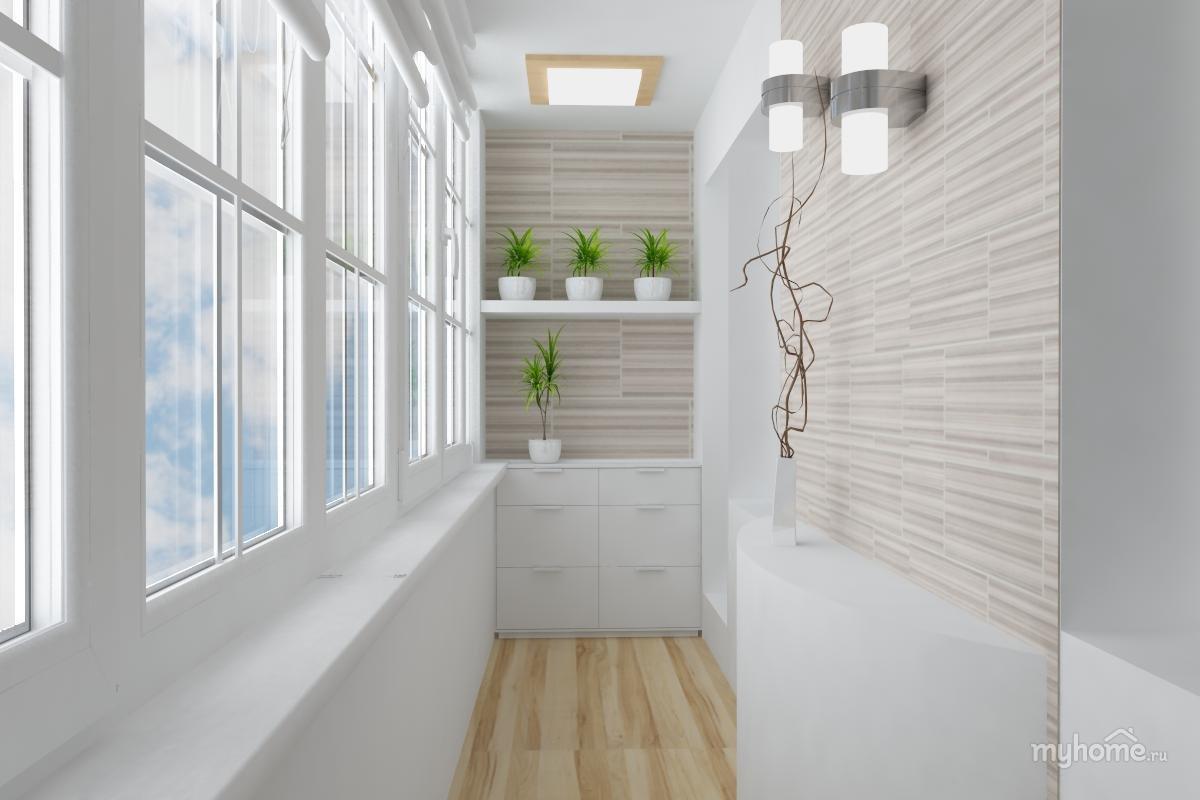 Дизайн балкона в красно белом цвете панелей.
