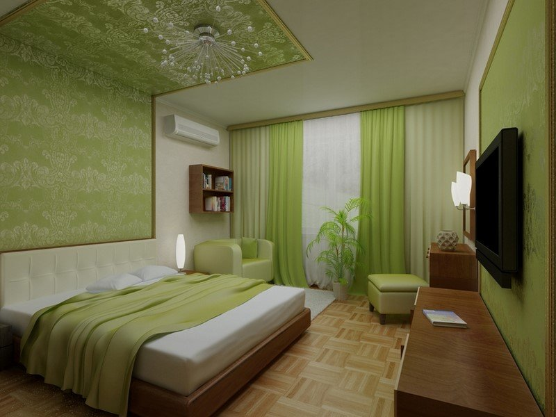фото спальня зеленая