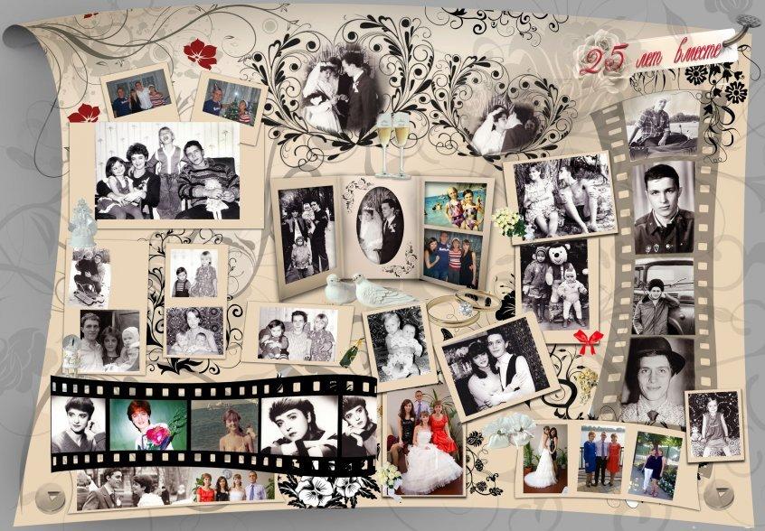 Оформление открытки из фотографий на день рождения, годиком варе