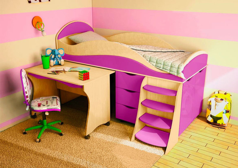 Каких видов бывают детские кровати со столом.