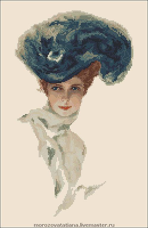 Схема вышивки 'Девушка в шляпке'