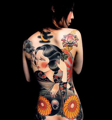 79e0d237b7c0a Full back Geisha tattoo by Bum Choi is create with strong character ...