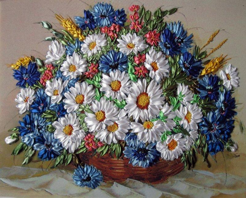 Объёмная вышивка лентами картина корзина с цветами» — карточка ... 63e322aee0726