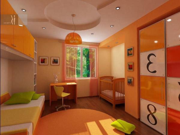 Потолочные светильники лучше монтировать в функциональных зонах. Возле кроватки малыша надо обеспечить мягкое освещение, которое не будет слепить малыша.