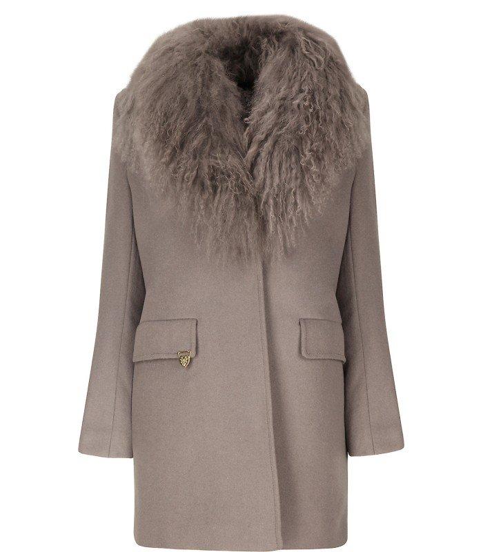 e9fc5ce307f ... Женское шерстяное пальто утепленное синтепоном со съемным мехом ламы на  воротнике