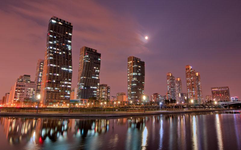 Город, Ночь, Небо, Дома, Луна