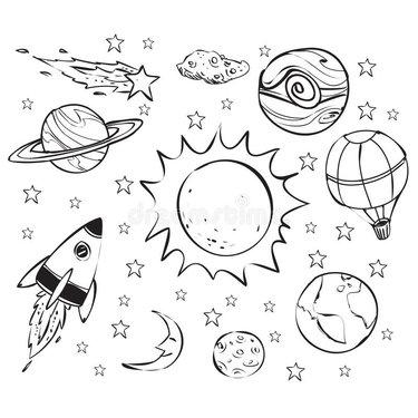 рисунки космоса карандашом для срисовки легкие