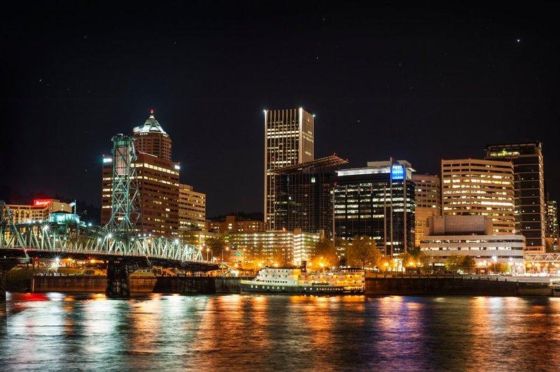 ночь, небоскреб, городской пейзаж, в центре города