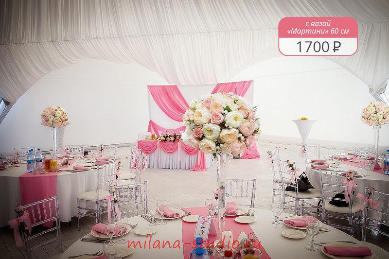 Свадебная флористика, оформление цветами зала на торжество.
