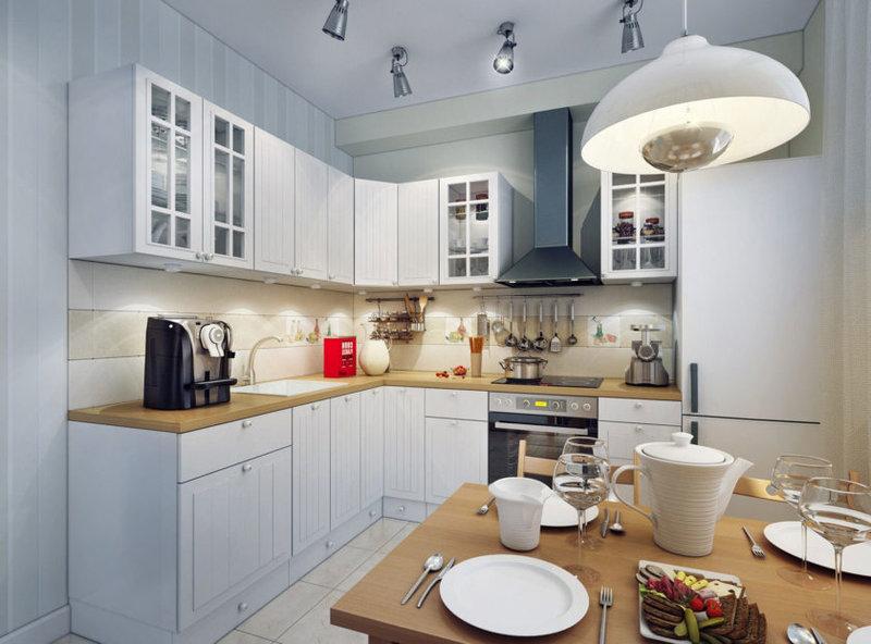 Г-образная современная планировка кухни