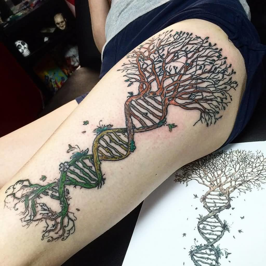 Creative Dna Tree Of Life Tattoo On Thigh Card From User