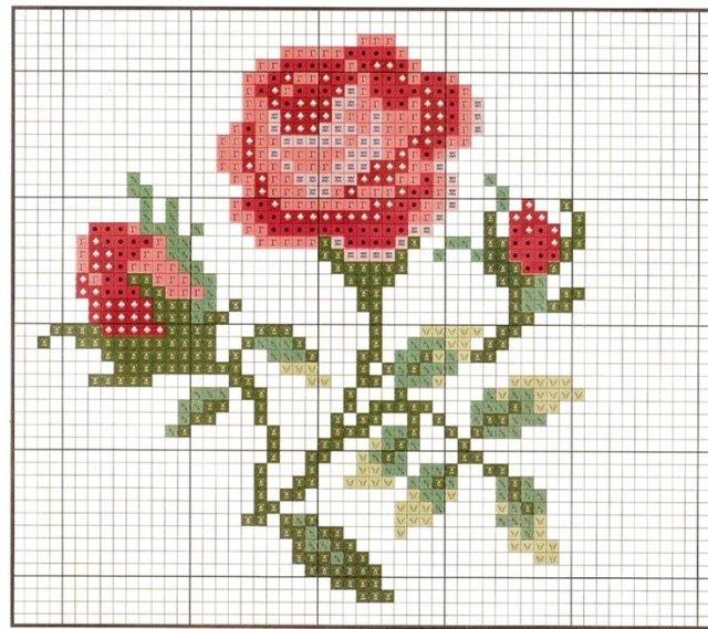 Розы крестиком. Вышивка-миниатюра
