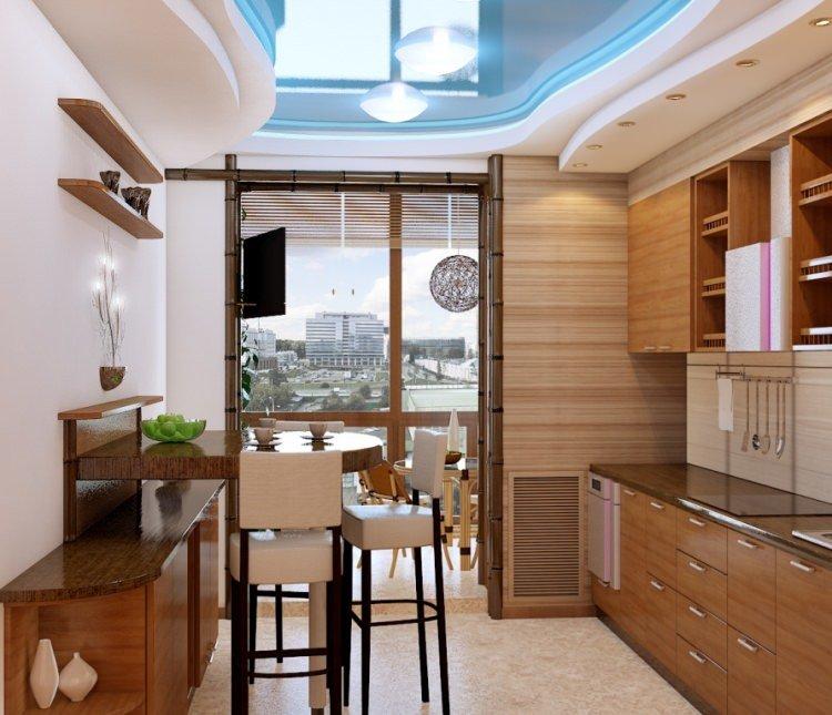 Кухня с балконом выполненная в современном дизайне с голубым.