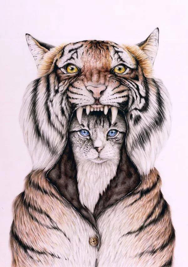 подавляющего тигр с котенком картинка коллекционное, комплекте шляпа