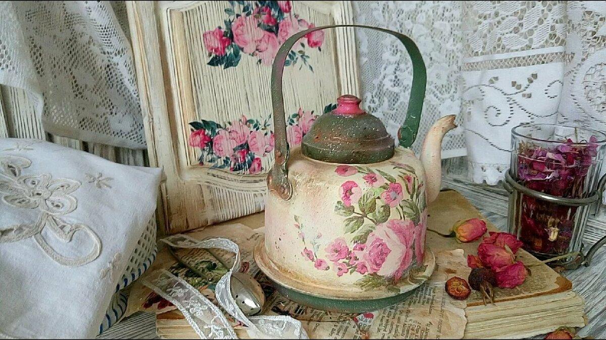 картинки заварочных чайников декупаж подрамнике