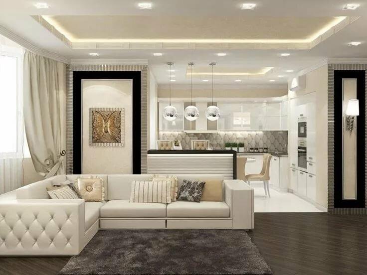 Дизайн кухни гостиной в светлых тонах фото соленого