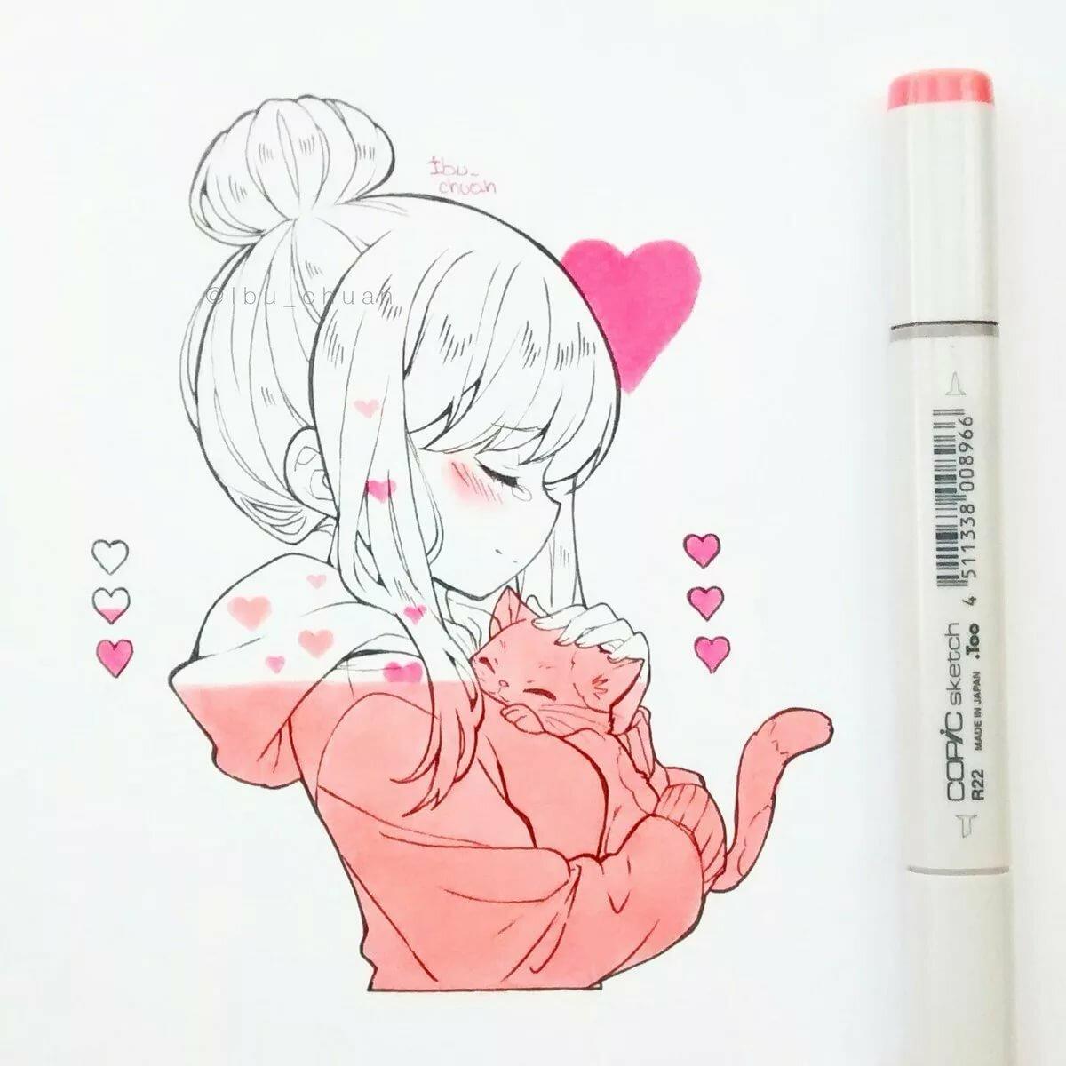Картинки для срисовки в скетчбук аниме легкие