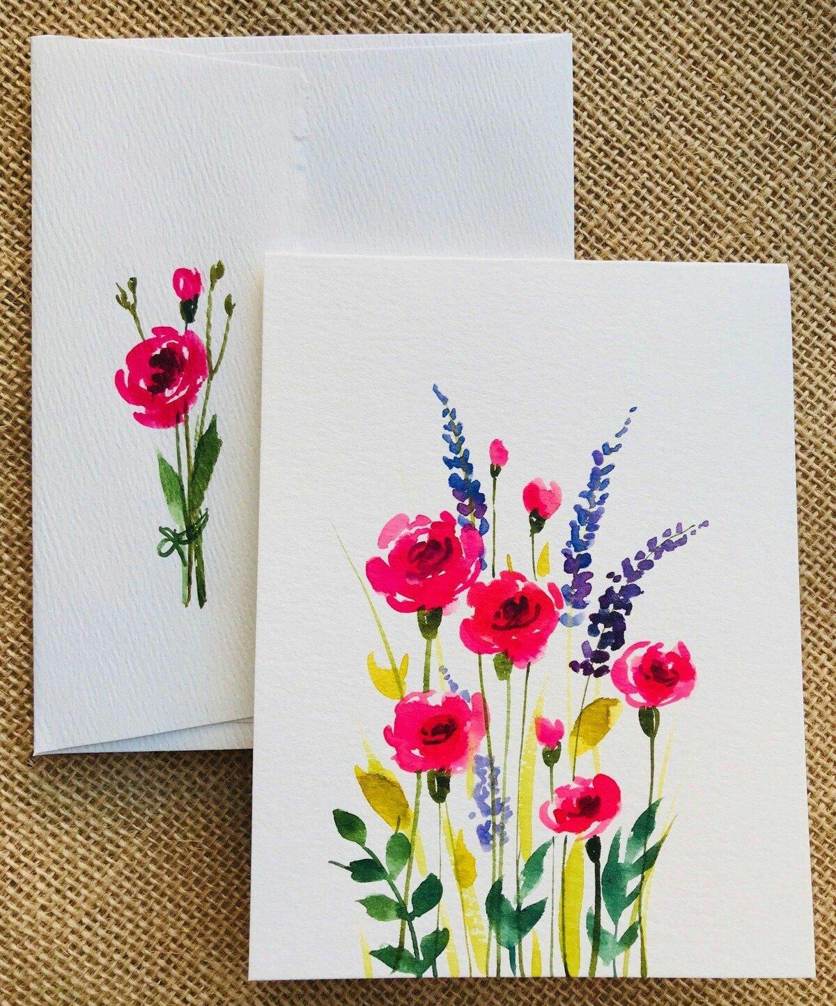цветов открытка с ручной росписью раскладываю