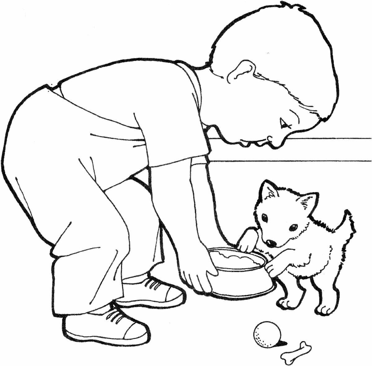 Картинка человек и собака раскраска