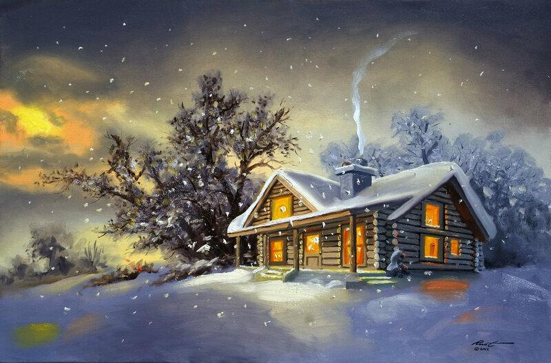 Картинка сказочный зимний лес с избушкой