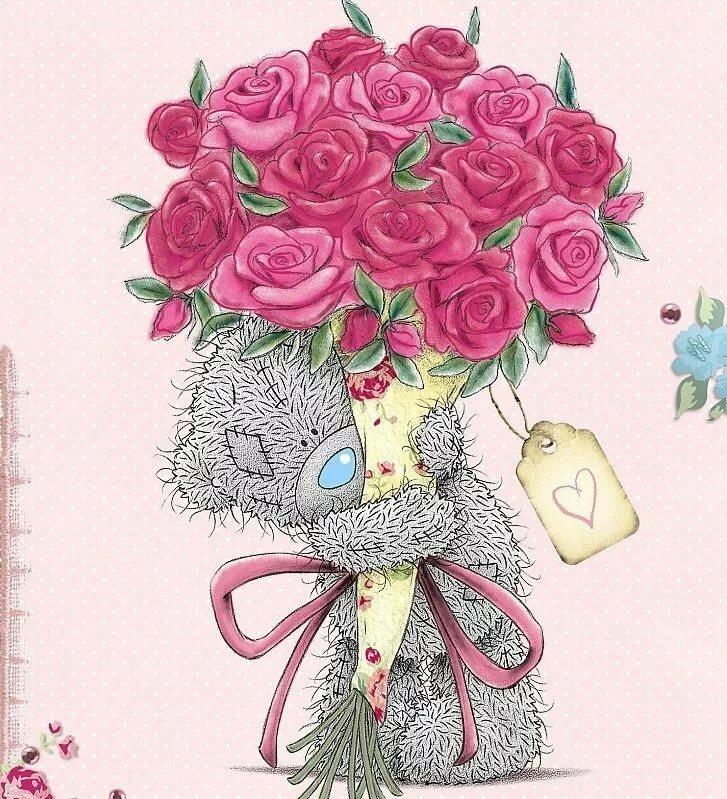 Мишка тедди с розами картинка
