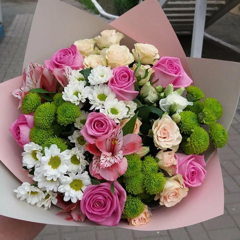 Букеты из хризантем и роз фото