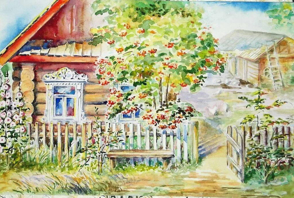Деревня картинки рисованные