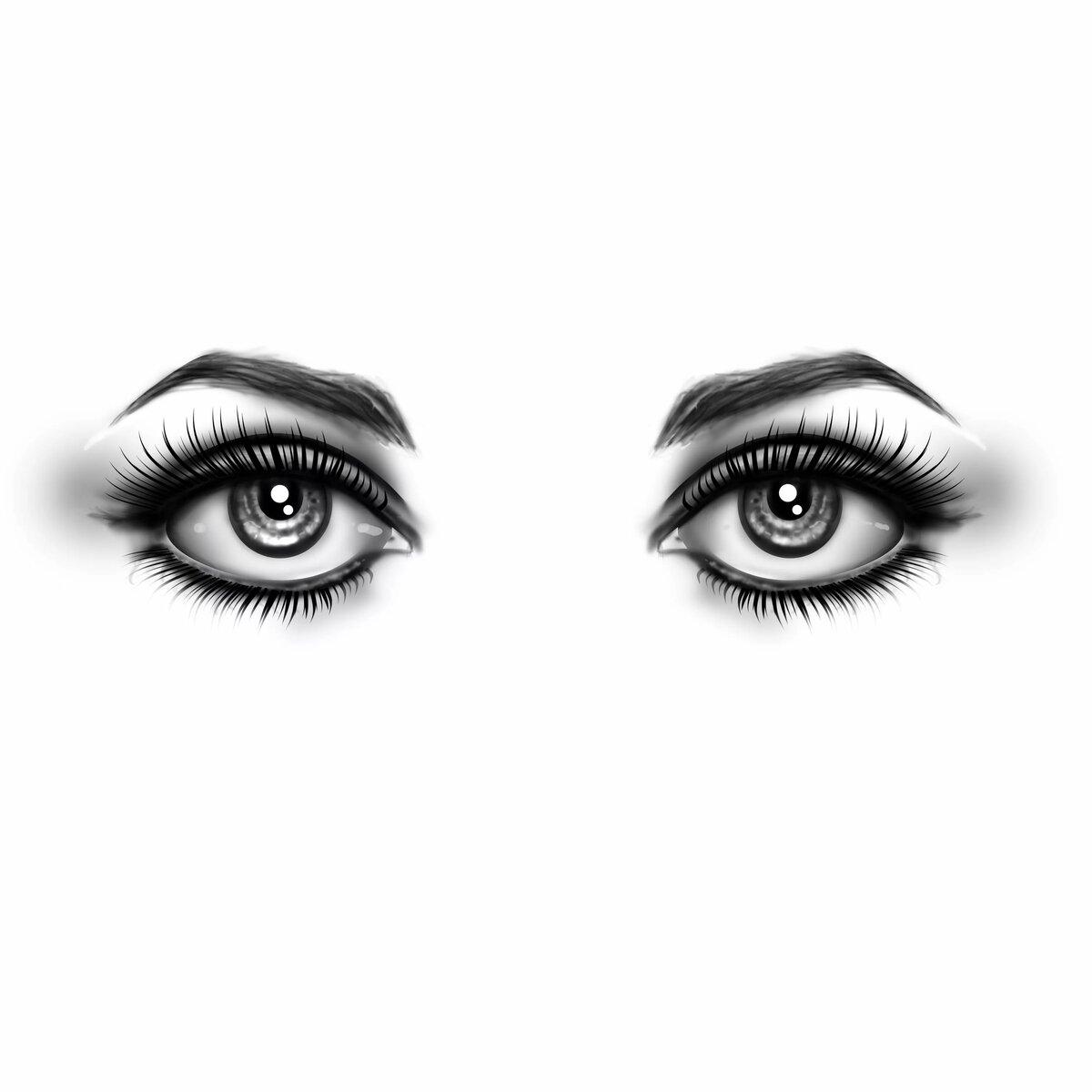 Картинка глаз черно белые