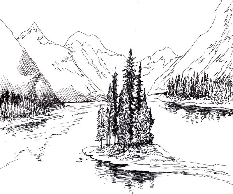 Горы и озеро рисунок карандашом