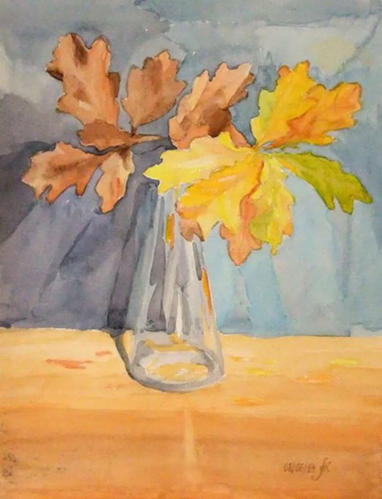 листья в вазе рисунок гуашью установить гидромассаж