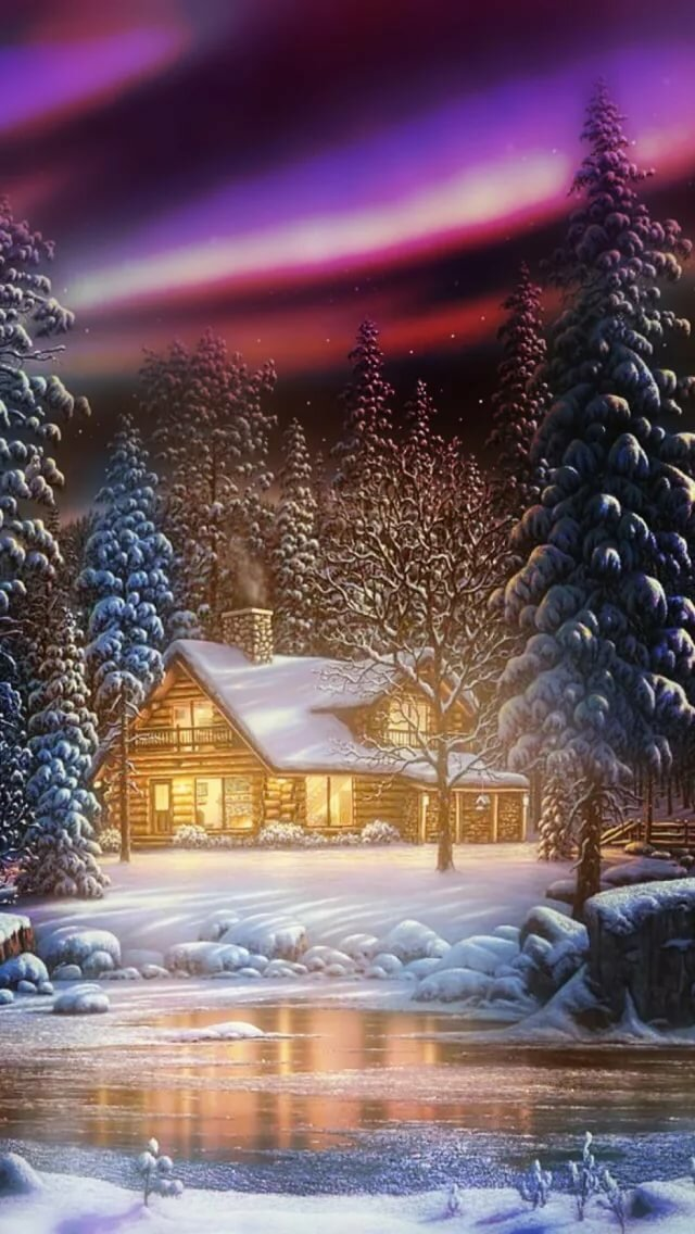 Живые картинки зима на телефон снег падает начала