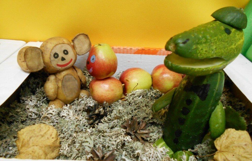 Осенняя поделка из овощей и фруктов своими руками раздумий