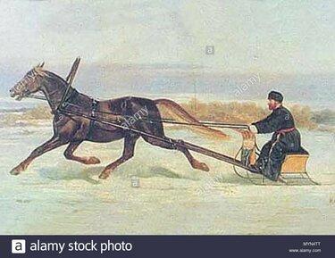 лошадь запряженная в сани рисунки