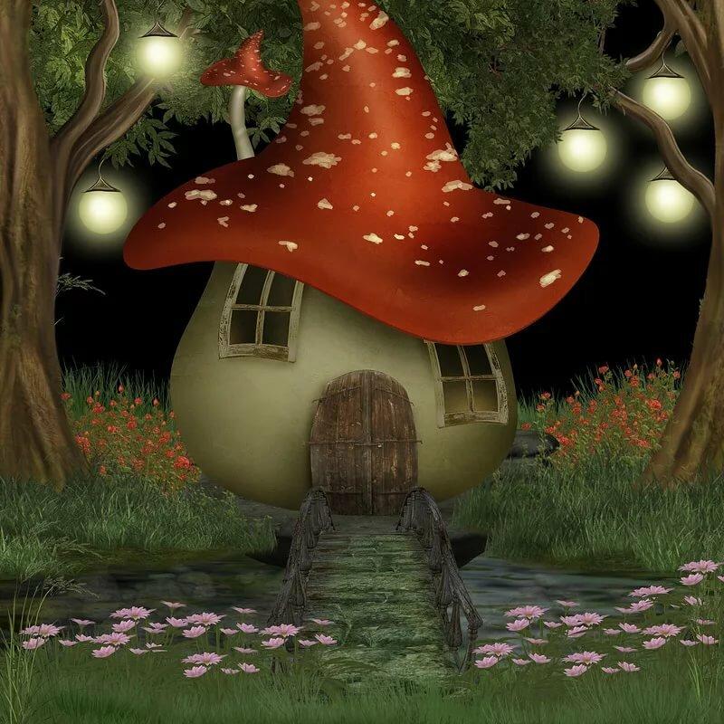 гриб домик картинки фэнтези кориандр