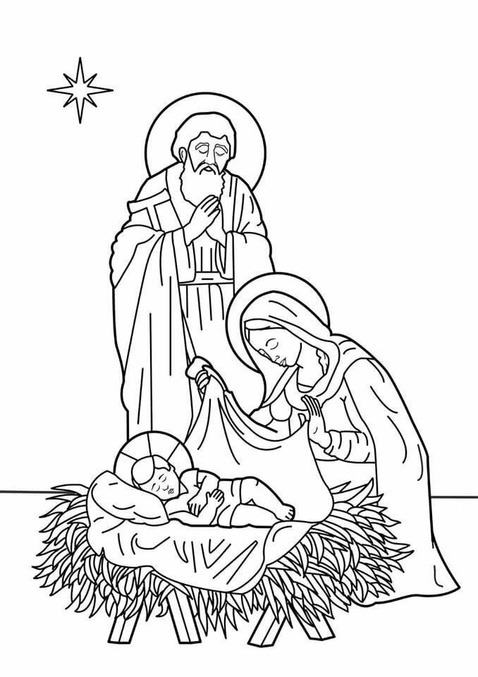 рождение иисуса картинки раскраски течение